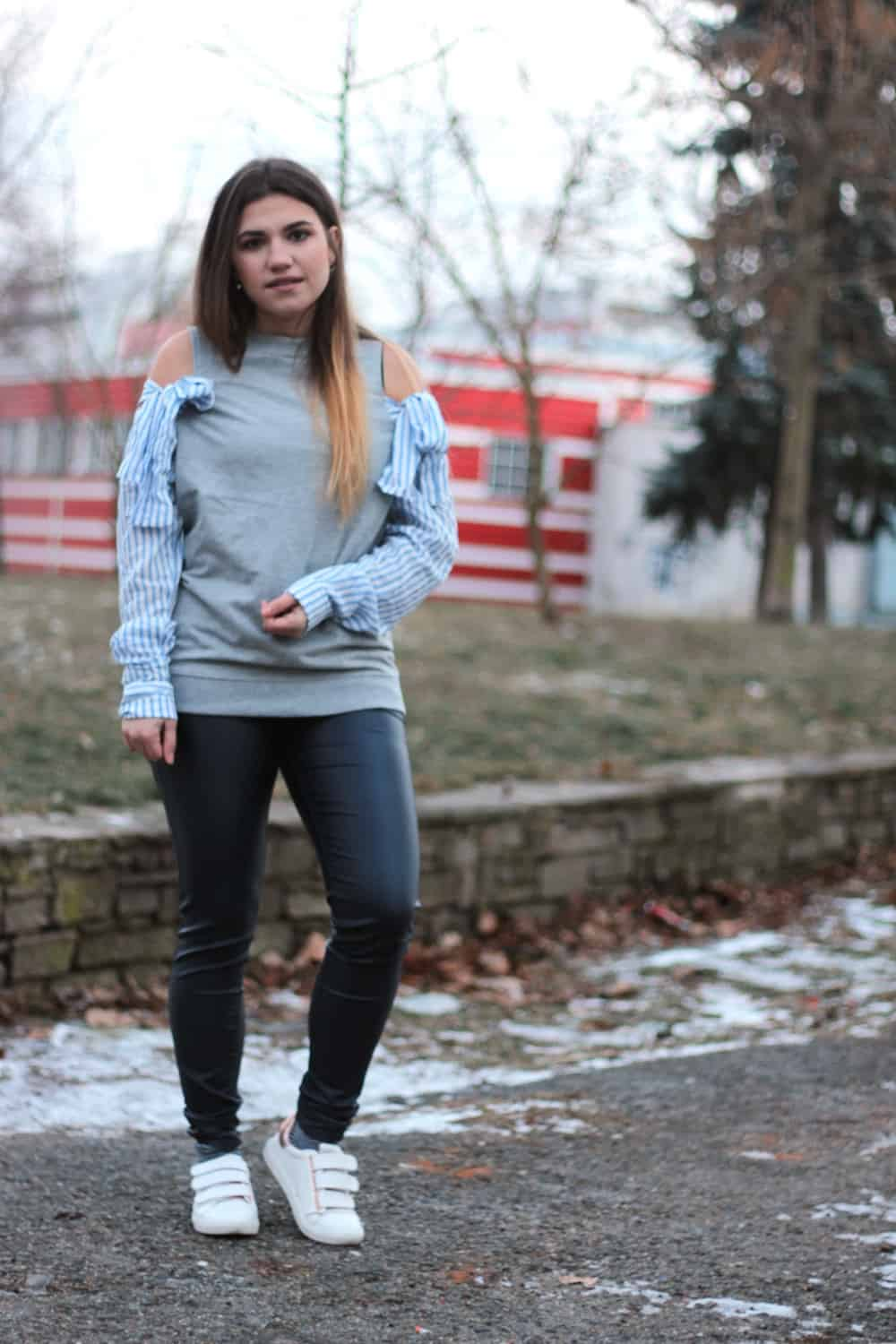 Outfit: Grey and blue