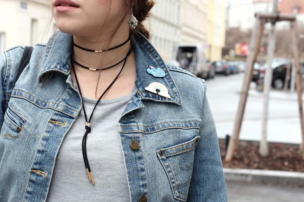 Details: Denim and funny Pins